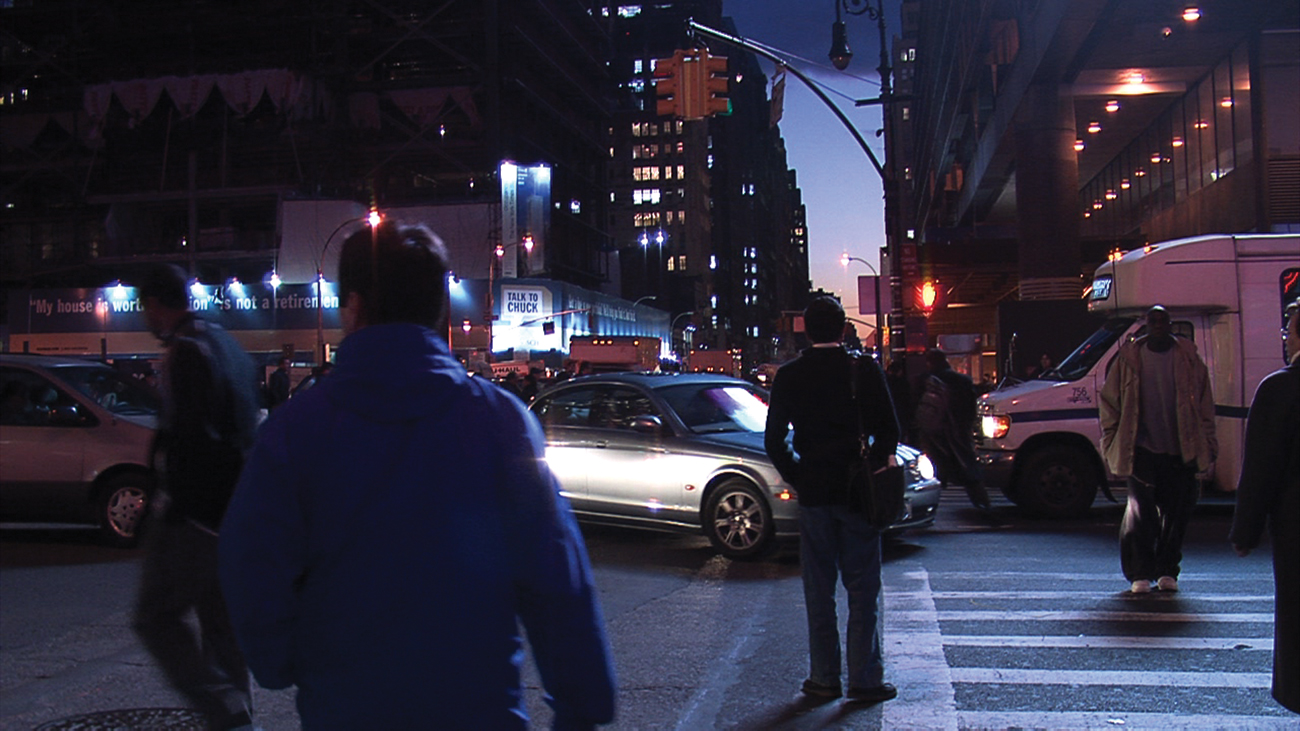 Scenes from Plot Point (2007, New York) shot solely with hidden cameras around Times Square, defies traditions of narration. The cinematic triptych time, form and sound suffice in offering mystery and tension.