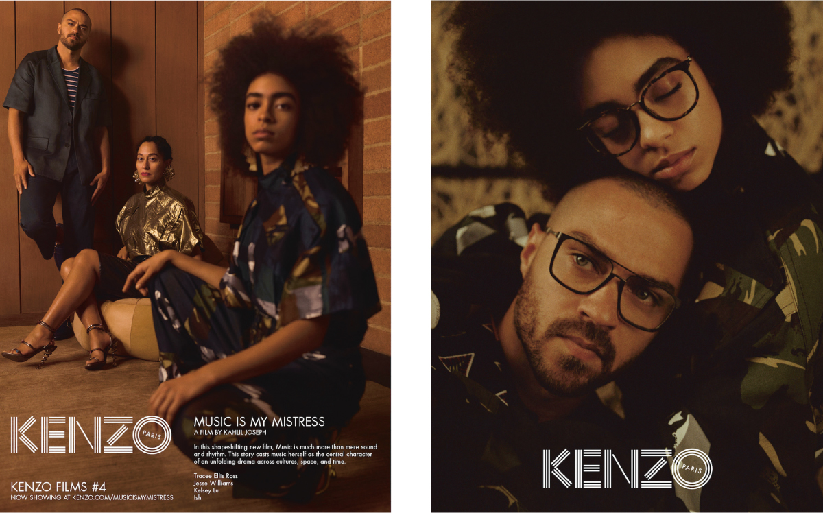 At the Los Angeles's Underground Museum, Kenzo's creative directors Carol Lim and Humberto Leon celebrated the premiere of a new Kenzo campaign film, the Kahlil Joseph-directed Music is My Mistress, showcasing Kenzo's kaleidoscopic spring/summer 17 collections. The short film is the fourth in a series of campaign movies commissioned by Kenzo, and stars actor and activist Jesse Williams, emerging musical talent Kelsey Lu, musician Ish, and Golden Globe winning actress Tracee Ellis Ross. Eschewing linear narrative in favour of divergent glimpses into a bigger story, the picture is an amalgamation of rhythms, visions, and moods, driven always by music. Courtesy Jane Helpern Vice